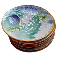 French Majolica Asparagus Plates - Set of Six - Hamage, St-Amand-les-Eaux - early 20th Century
