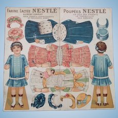 French Cut-out Paper Doll, Dresses and Hats - 1920s Advertisment - Child's Découpage
