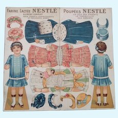 Uncut French 1920s Paper Doll Sheet with Dresses and Hats