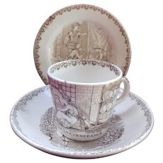 Transferware Doll's 'Cinderella and Prince Charming' Cup, Saucer and Plate 1889 - Arts and Crafts