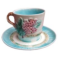 Majolica 'Lilac and Picket Fence' Cup and Saucer - Turquoise with Rope Handle - Antique