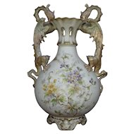 Dragon Handled Bohemian Vase circa 1900 - Stellmacher Turn Teplitz Porcelain