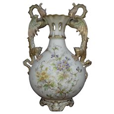 Alfred Stellmacher Turn Teplitz double Dragon handled porcelain Vase circa 1900