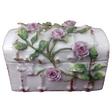 Antique German Porcelain hand-painted 'Treasure Chest' Trinket Box with applied Roses circa 1900