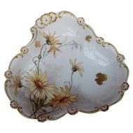 Hand-painted signed early 20th Century Limoges Porcelain Dish with wild flower Decoration