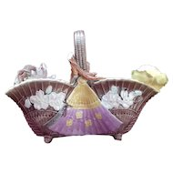 Aesthetic Majolica Rose Basket with Japanese Fan and Canary circa 1880