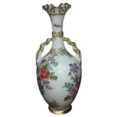 Dresden porcelain Bottle Vase with gilded ribbon Handles