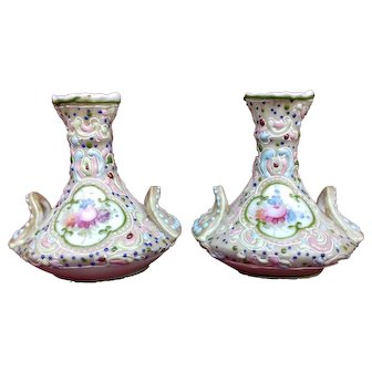 Pair of Miniature Japanese Moriage Vases