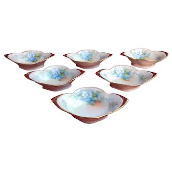 Noritake Porcelain Salt Dishes Hand-painted with Forget-Me-Nots