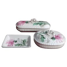 French Antique Soap Dish and two lidded Containers in 'Terre de Fer' China (Ironstone)