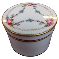 Minton Porcelain Trinket Box and Lid with Hand-painted Flower Swags and Gilding 1912 - 1950