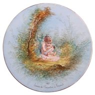 'Girl with Doll' Plate -  1885 French Exhibition Souvenir Hand-painted over Transfer Ware