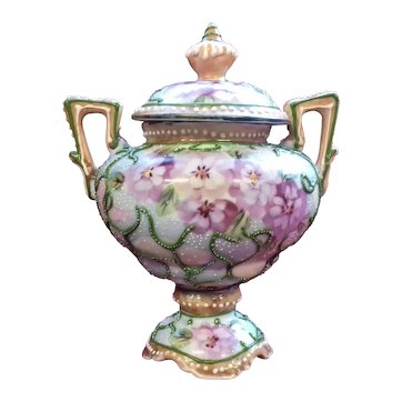 Porcelain Moriage Urn and Cover - Vintage with Pansies