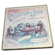 c1900 French Miniature Lithographed Boxed Game - 'Question of the Day'