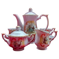 Vintage French Porcelain Doll's Coffee Service with Romantic Transfer Decoration