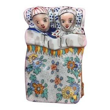 Large Hand-Painted Limoges Porcelain Box - Knight and Lady in Bed