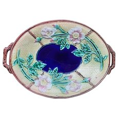 Antique English Majolica 'Rose and Rope' Platter with Cobalt Blue Centre