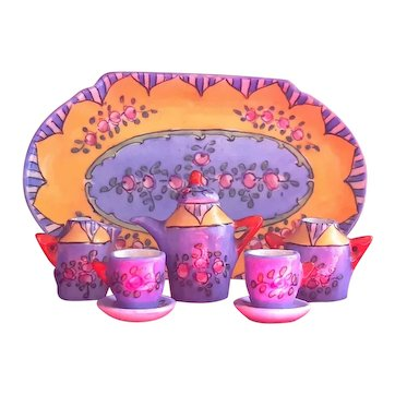 Early 20th Century Hand-painted Gabriel Fourmaintraux Miniature Porcelain Coffee Set 1/6 Scale