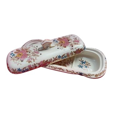 W Copeland & Sons, Staffordshire Polychrome Transferware Toothbrush Holder and Lid 1867-90