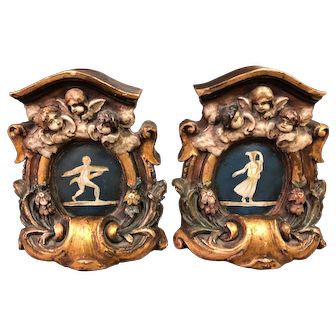Baroque style antique bookends