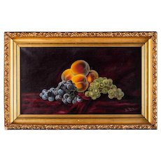 "Antique Original Oil Painting ""Still Life Fruits"""