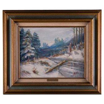 Mexico Listed Artist Enrique Velazquez Moreyra  Winter Scene Oil on canvas