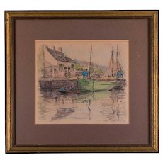 "Early 20th Century Original Watercolor ""Moored Boat"""