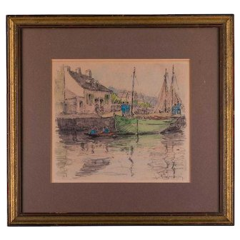 """Early 20th Century Original Watercolor """"Moored Boat"""""""