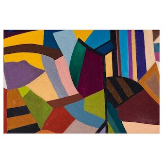 """Large American Abstract Oil Painting """"Crazy Quilt"""" Artist: Kirby Grimes"""