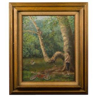 """Signed  G. Earl Watt """"Swarthmore Summertime"""" Oil On Canvas"""