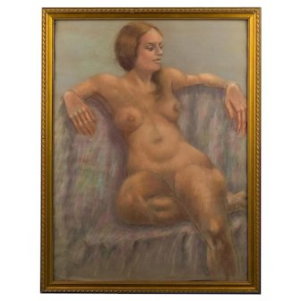 Nude Portrait of A Girl Medium: Pastel On Paper