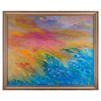 "Abstract Medium: Oil on canvas"" rainbow """