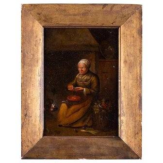 "Antique Oil On Tin Original Oil Painting ""Grandma"""