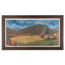 "Vintage American Impressionist Oil Painting ""Autumn View"""