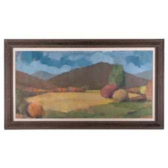 """Vintage American Impressionist Oil Painting """"Autumn View"""""""