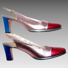 Women's Size 8 Shoes Metallic High Heeled Sling Back