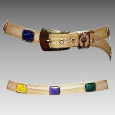 Gold Metal Mesh Belt & Multi Colored Cabochon Stones