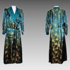 Women's Silk Robe Teal Blue Bathrobe Kimono