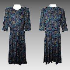 Women's Size 9 / 10 Petites Dress Purple Paisley Belted by E.D. Michaels