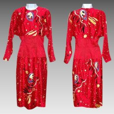 Size 4 Dress Red Abstract Print Silk Dress Dolman Sleeves Asian Influence