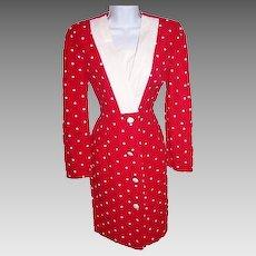 Women's Size 4 Dress Red Polka Dotted Button Down Retro Avant Garde Dress