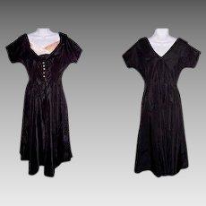 Size 15 Dress Black Pink with Satin & Rhinestones