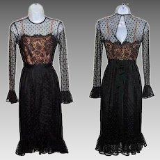 Size 4 Dress Black Lace Sheer Illusion Jack Bryan
