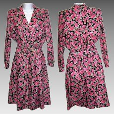Size 7 /8 Dress Pink Floral Swing Day Garden Tea Party Flowered