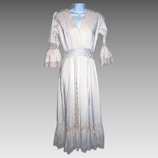 Size Medium Dress Maxi Boho Hippie Crocheted Lace Long Sleeved Wedding Long Dress