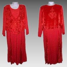 Size One Plus Dress Orange Crushed Velvet