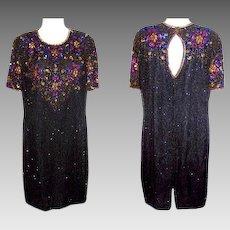 Women's Size Large Dress Black Glass Beaded Stenay