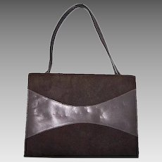 Gray Suede Purse Trapeze Minimalist Leather