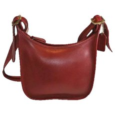 Coach Purse Red Leather Janice Legacy Crossbody Shoulder Bag