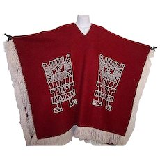 Poncho Red Wool Ethnic Unisex